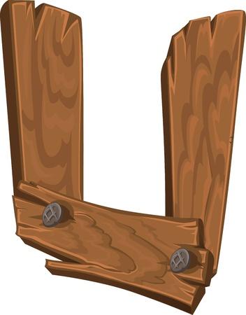houten alfabet - letter U