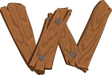 houten alfabet - letter W Vector Illustratie