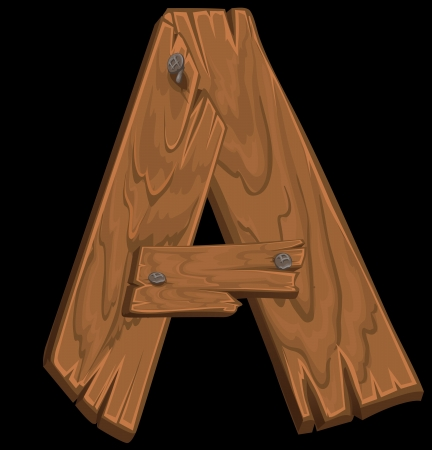 wooden alphabet - letter A on black background Vector