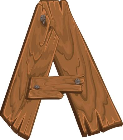 tipos de letras: de madera alfabeto - letra A