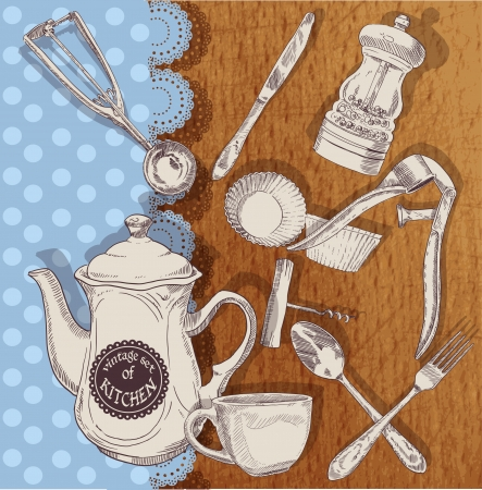 Vintage set of cooking utensils Vector