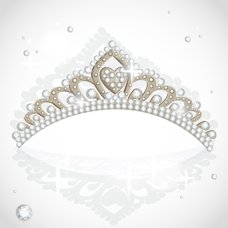 heart with crown: Shining tiara with diamonds