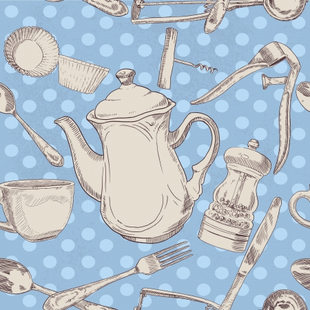 press nuts: Seamless pattern of kitchen utensils vintage