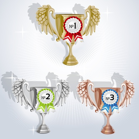 Award goblets - gold, silver and bronze with rosettes Vector