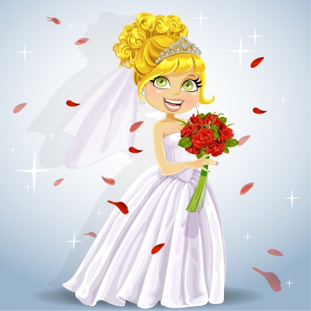 woman pose: Wonderful shining bride with bouquet