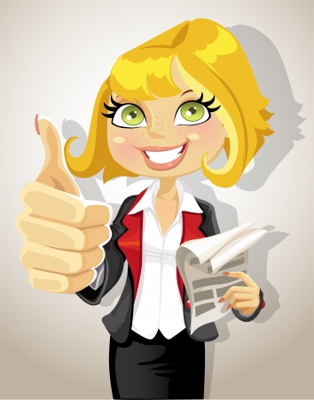 Pretty business woman with business papers showing that everything is OK Vector