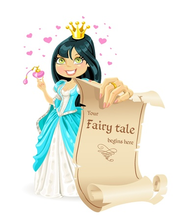 Sweetheart brunette Princess with banner - your fairy tale begins here Vector