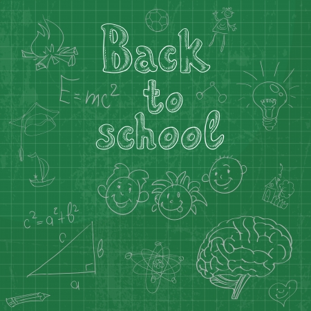 first day of school: Back to school board doodles background