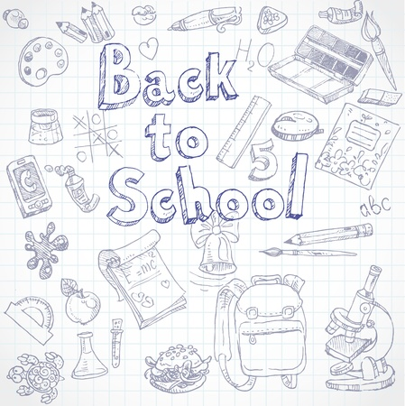 Back to School doodles with Lettering Vector