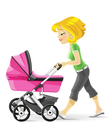 Young mother walking with a pink baby carriage