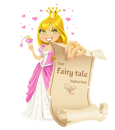 Sweetheart Princess with banners - your fairy tale begins here Vector