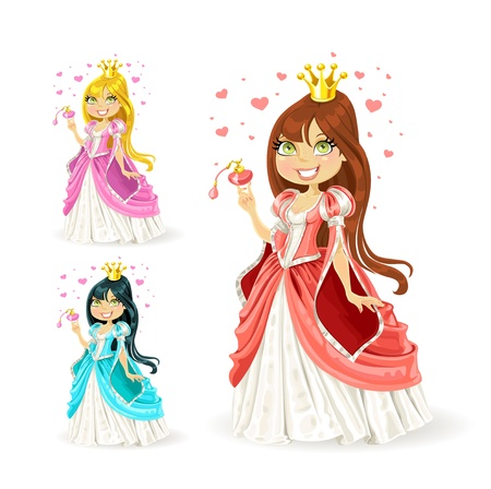 The beautiful fairy princess in a different color variations Vector