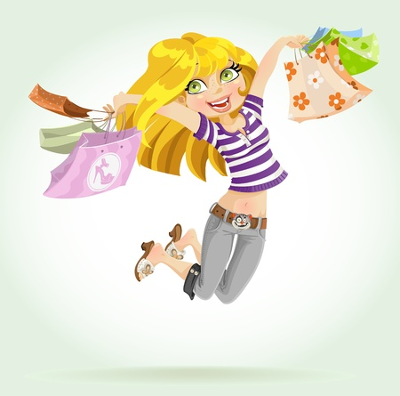 Cute blond girl shopaholic with shopping bags Vector