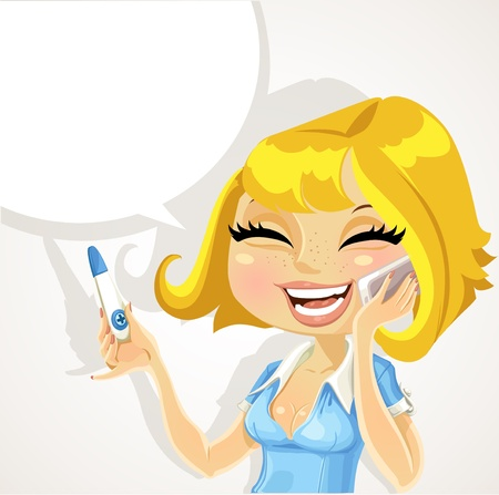 the result pregnancy test: beautiful girl says on the phone about a positive pregnancy test result