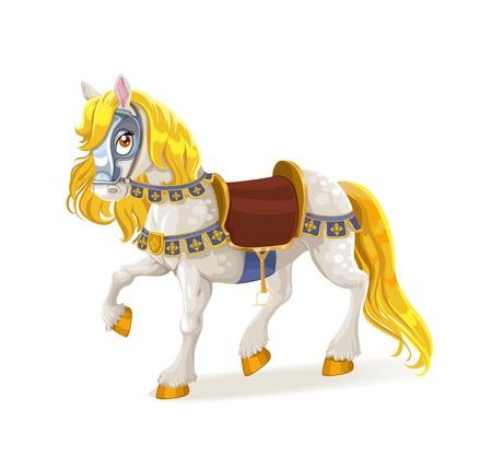 horse saddle: Cavallo magico bianco sellato per le gesta coraggiose