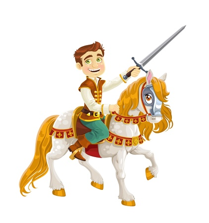 Prince Charming on a white horse ready for feats Vector