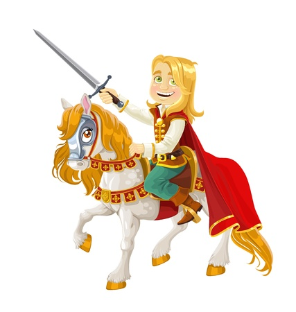 Prince Charming on a white horse Stock Vector - 15662727