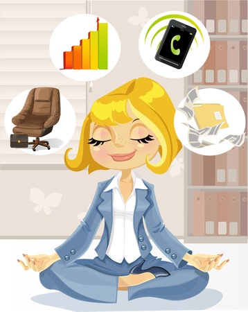 Lovely business lady is engaged in meditation to achieve success Vector