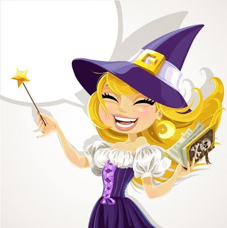 evil girl: Carino giovane strega con la bacchetta magica e libro