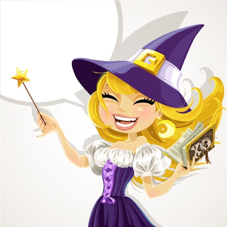 wicked: Cute young witch with magic wand and book Illustration