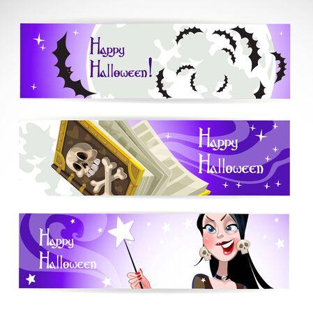 Happy halloween horizontal banner Stock Vector - 15743893