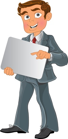 toon: Office worker with text background