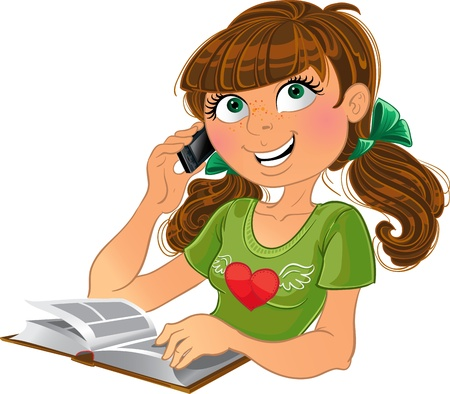 comic book character: Girl and phone and book Illustration
