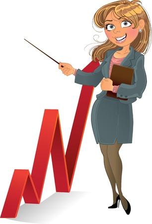 bank manager: businesswuman con el diagrama de color rojo