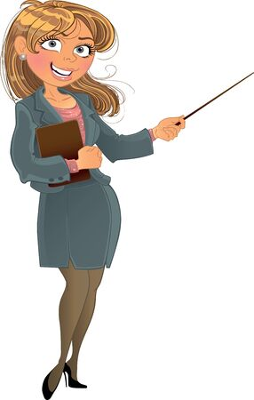a bank employee: businesswoman with pointer
