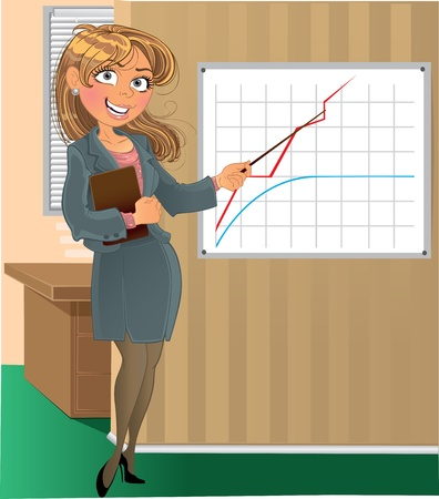 a bank employee: businesswoman with pointer in office Illustration