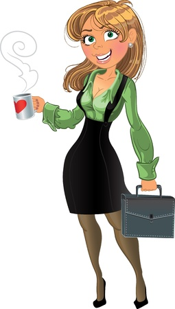 woman laptop: businesswoman with cup and brief case