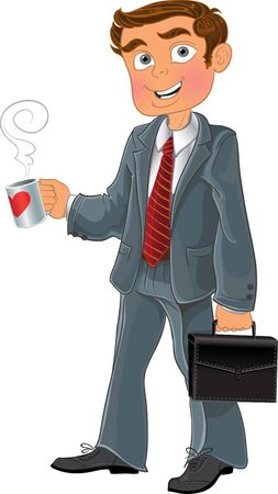 businessman with cup and brief case Stock Vector - 15743825