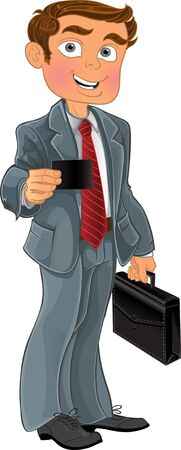 stock clip art icons: Businessman in grey suit with business card