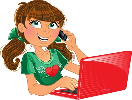 girl at phone: Brown-haired girl with phone and red laptop