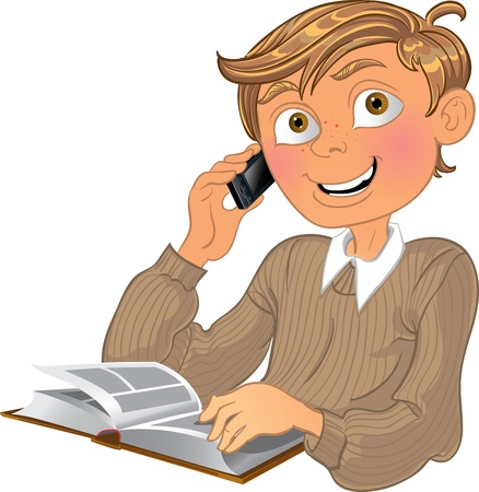 novice: Blond boy and phone and book Illustration