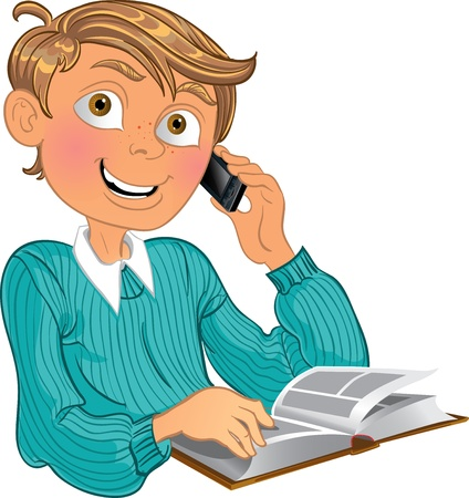 Blond boy in blue sweater and phone and book Stock Vector - 15743850
