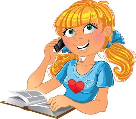 novice: Blond girl and phone and book Illustration