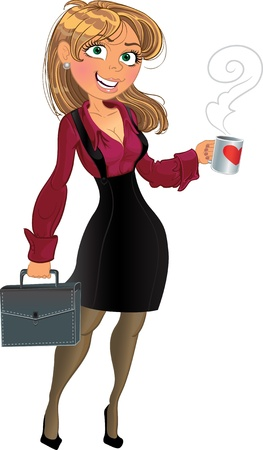 woman laptop: Blond in wine red chemise with cup of tea or coffee.
