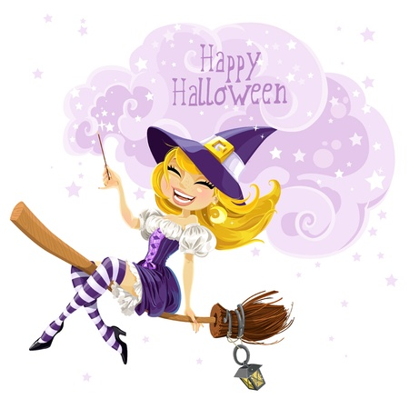 Cute witch flying on a broom and conjures wish Happy Halloween Stock Vector - 15743907