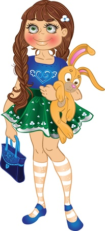 ecard: girl with yellow bunny and bag Illustration