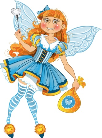 Little tooth fairy with bag of tooth with wings Vector