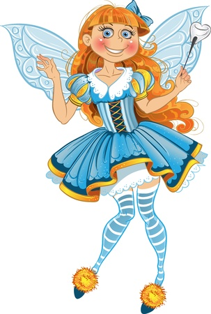 fantasy fairy: Little tooth fairy with wings