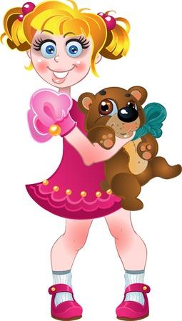 girl and teddy bear  Stock Vector - 15783600