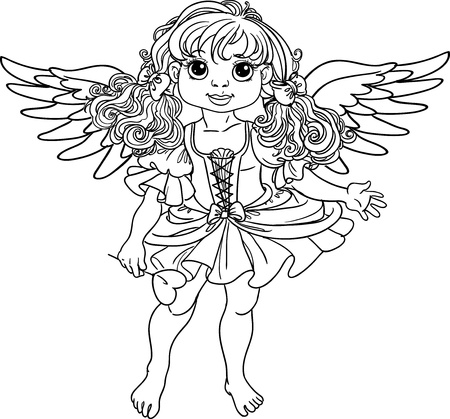 Pretty angel girl with wings black outline for coloring Vector