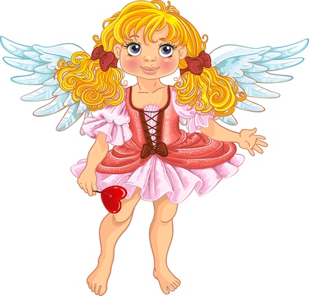 queen of angels: Pretty angel girl with wings Illustration