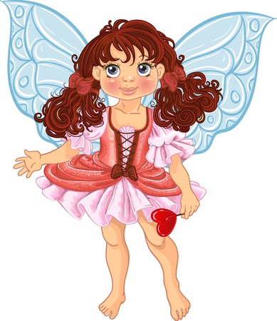 Pretty fairyl girl with magick wand Vector