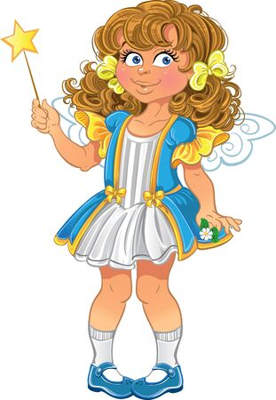 pretty little girl: Pretty little girl with magic wand  Illustration