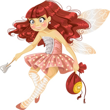 tooth fairy: Pretty red haired tooth fairy in pink  Illustration