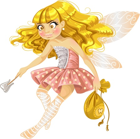 mythological character: Pretty blond girl tooth fairy in pink  Illustration