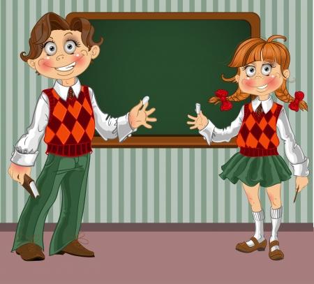 exited: Schoolgirl and schoolboy near a blackboard in classroom Illustration